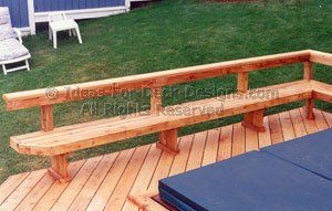 Rail and bench around hot tub