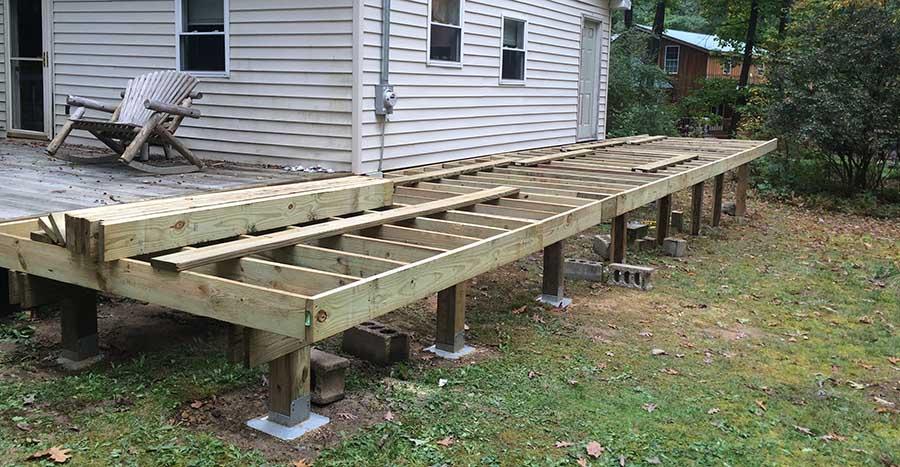 Pennsylvania cabin deck footings
