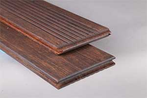 Bamboo boards showing top and bottom side with side and end grooves for end matching boards.