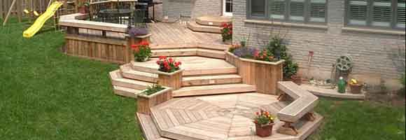 Multi level cedar deck an cascading stairs