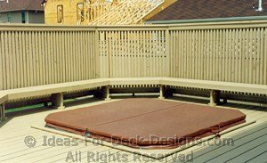 Wooden deck built around tub