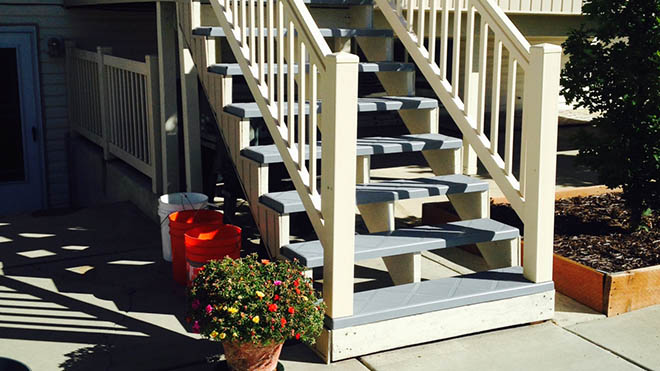 Stair tread covers over old deck stair case