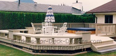 Low level deck with a hot tub in the back
