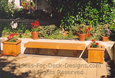 Patios seating against a retaining wall